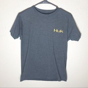 HUK FISHING performance gray graphic tee shirt SM